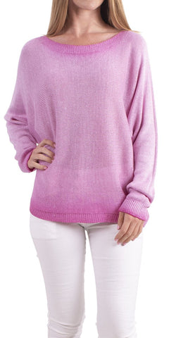 Argento Glitter Back-Zip Sweater - Hot Pink