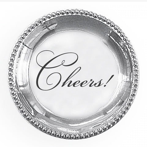 "Organic Pearl Round Engraved Tray ""Cheers!"""