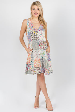 V-Neck Patchwork Dress
