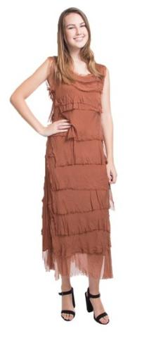Full Length Silk Ruffle Dress in Assorted Colors