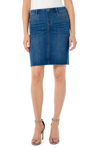 GIA PULL-ON CUT HEM PENCIL SKIRT - Denim