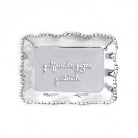 "Organic Pearl Rectangular Engraved Tray ""girlfriends, giggles, gratitude"""