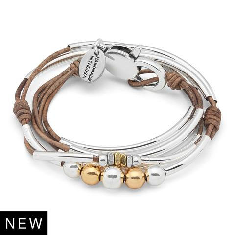 "Lizzy James ""Gloria "" Mixed Metal Bracelet- Natural Brown Gray"