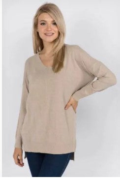 VNeck Tunic Sweater - Heather Oatmeal
