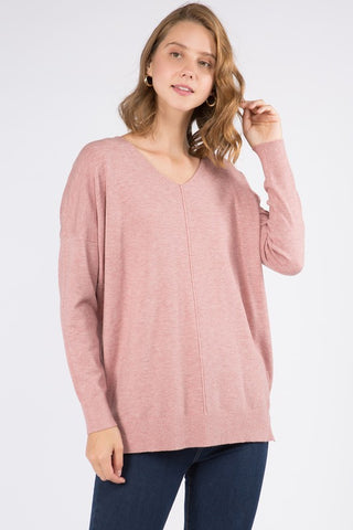 VNeck Tunic Sweater - Heather Soft Pink