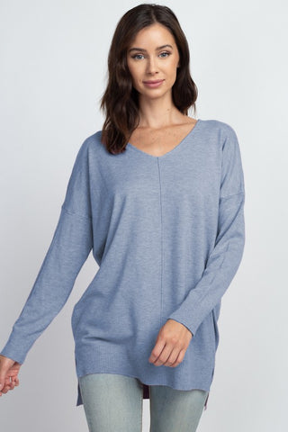 VNeck Tunic Sweater - Powder Blue