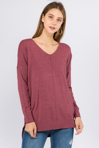 VNeck Tunic Sweater - Heather Wisteria