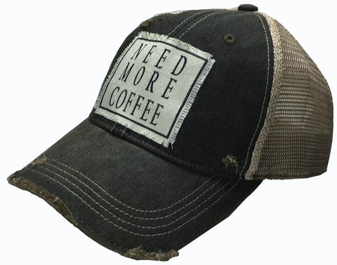 """Need More Coffee"" Distressed Trucker Cap"