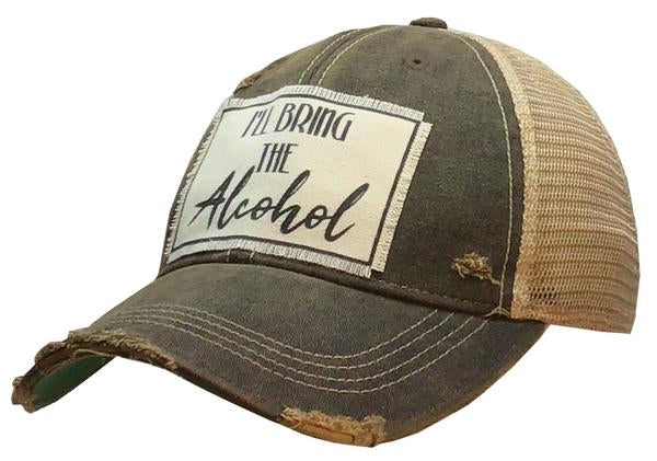 """I'll Bring The Alcohol"" Distressed Trucker Cap"
