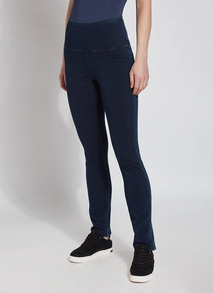 Denim Straight Leg Stretch Leggings - Indigo