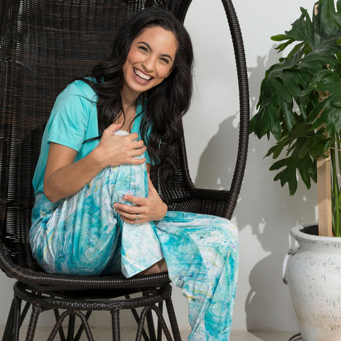 Light Blue Marble Lounge Pants and Surf Gr