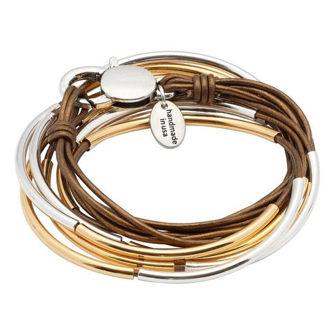 Lizzy James - Lizzy Classic 4 Strand Gold and Silver in Natural Black Leather
