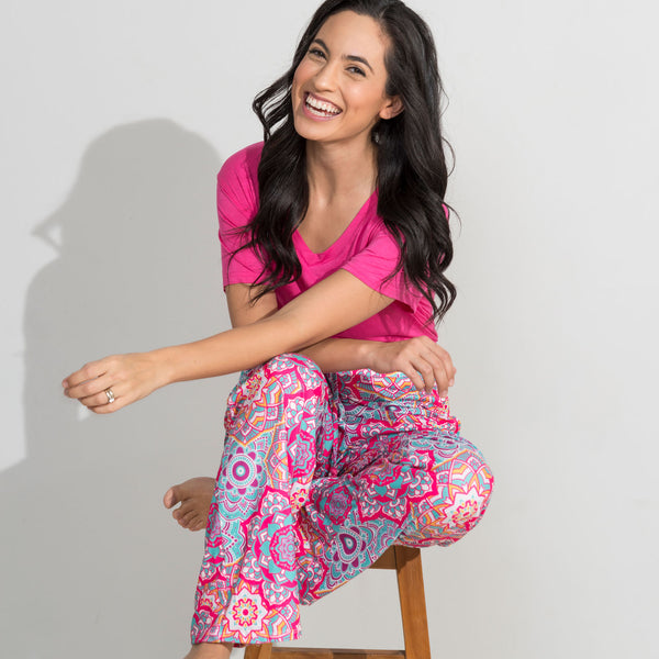 Multi Mandala Lounge Pants and Fuschia Top