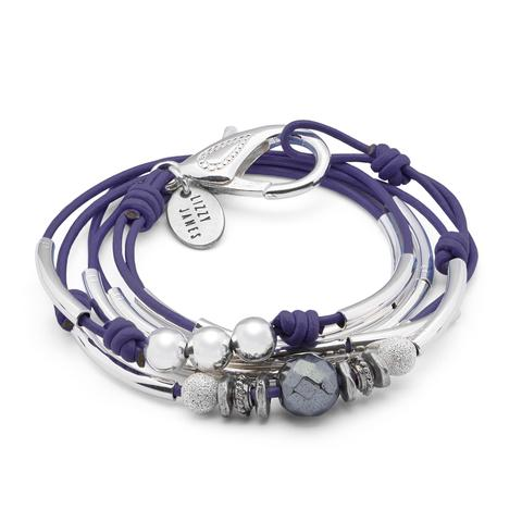 "Lizzy James ""Phoebe "" Silver Bracelet-Gloss Purple"