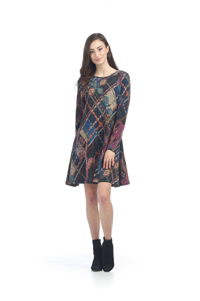 Knit A-Line Sweater Dress Blue