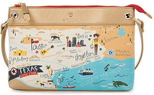 Spartina 449 Map Crossbody - Greetings from Texas