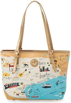 Spartina 449 Map Small Tote w/ Zipper - Greetings from Texas
