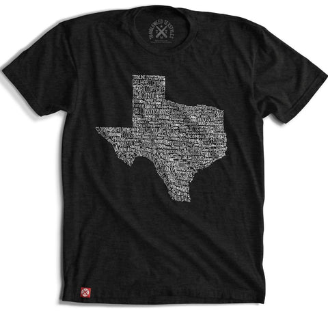"""Texas Towns"" Short Sleeve T-Shirt in Black featuring Grapevine"