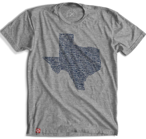 """Texas Towns"" Short Sleeve T-Shirt in Grey featuring Grapevine"