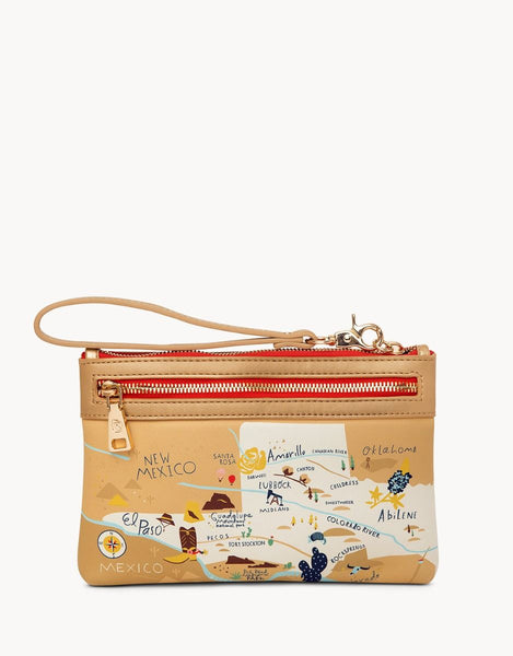 Spartina 449 Map Scout Zip Wristlet - Greetings from Texas
