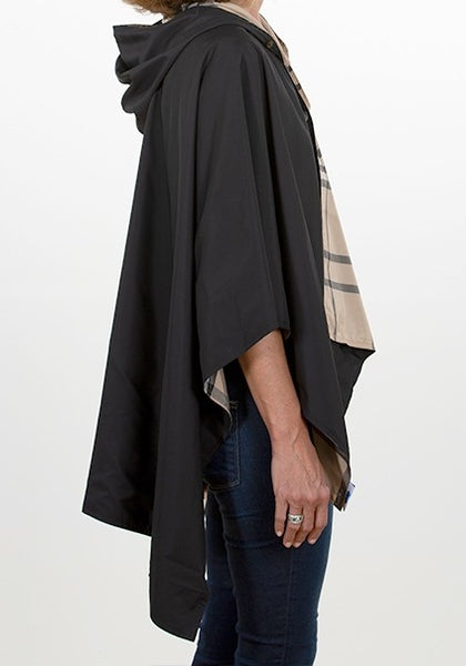 Black & Beige Plaid Reversible Rain Wrap