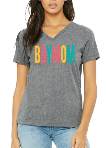 Boymom Grey Tropical V-Neck