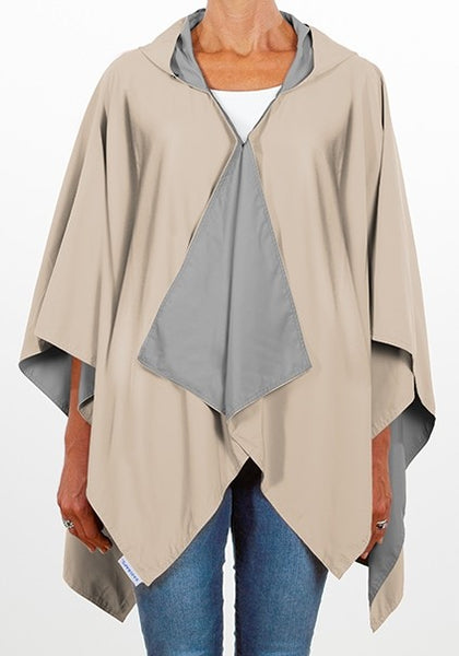 Camel & Lt. Grey Reversible Rain Wrap