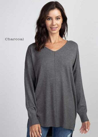 VNeck Tunic Sweater - Charcoal