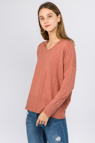 VNeck Hooded Sweater - Heather Spice