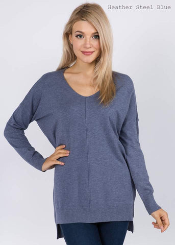 VNeck Tunic Sweater - Heather Grey Blue