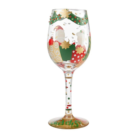 Lolita Sipping with Santa Holiday Wine Glass