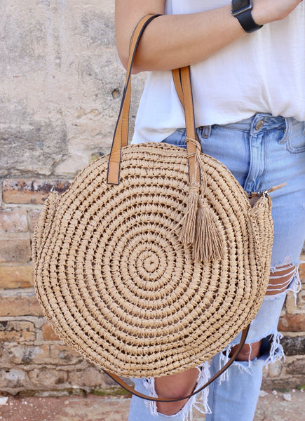 Azure Large Round Straw Crossbody Bag