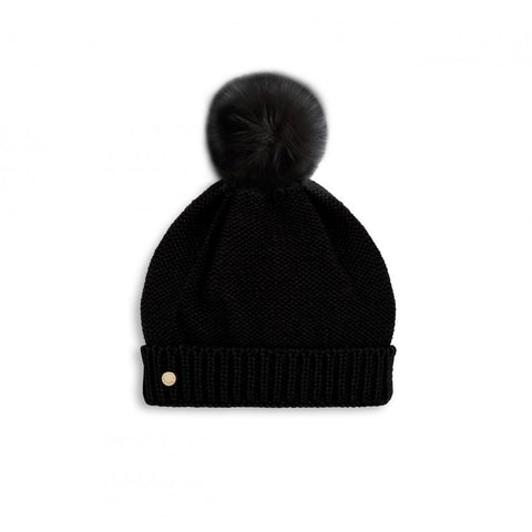 FAUX FUR BOBBLE HAT | BLACK