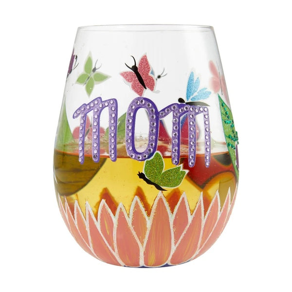 Mom You Helped Me Fly Stemless Wine Glass by Lolita