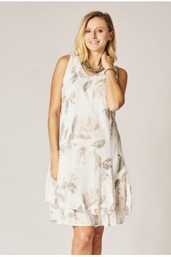 Sleeveless Flower Print Dress - 3 colors