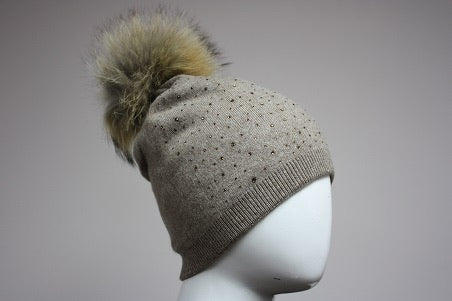 Sparkle Angora Beanie w/ Fox Pom Pom - 2 Colors