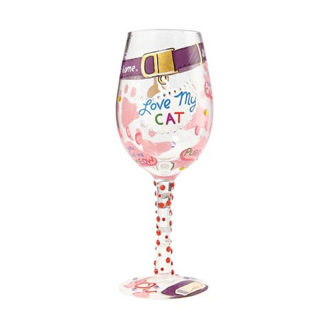 Love my Cat Wine Glass by Lolita
