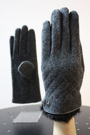 Cashmere Quilted Gloves with Fur Trim - 3 Colors
