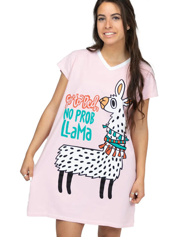 Lazy One V-neck Nightshirt - Go to Bed Llama