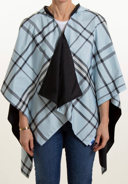 Black & Light Blue Plaid Reversible Rain Wrap