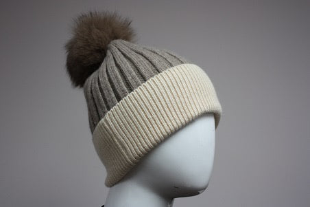 Angora Beanie w/ Fox Pom Pom - 3 Colors