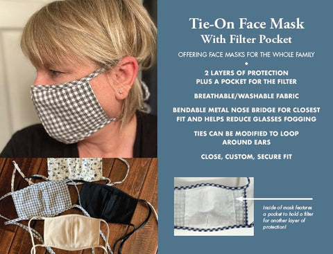 Adult Tie-On Face Masks with Filter Pocket - 4 Solid Colors and 4 Prints