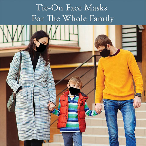 Youth Tie-On Face Masks with Filter Pocket - 4 Solid Colors and 2 Prints