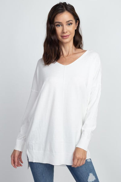 VNeck Tunic Sweater - Off White