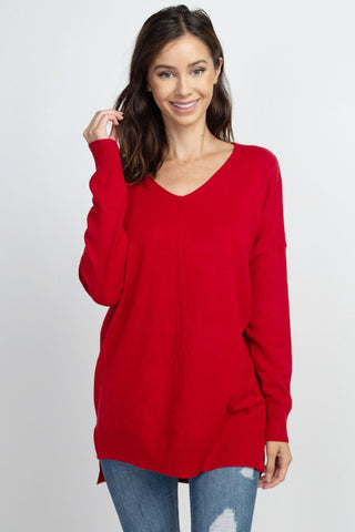 VNeck Tunic Sweater - Red