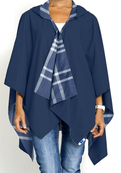 Navy & Navy Plaid Reversible Rain Wrap