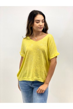 Short Sleeve T-Shirt with Silver Detail -Yellow