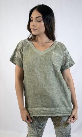 Linen Front Tee with Star Pocket