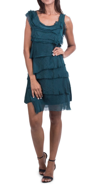 Knee Length Silk Ruffle Dress in Assorted Colors