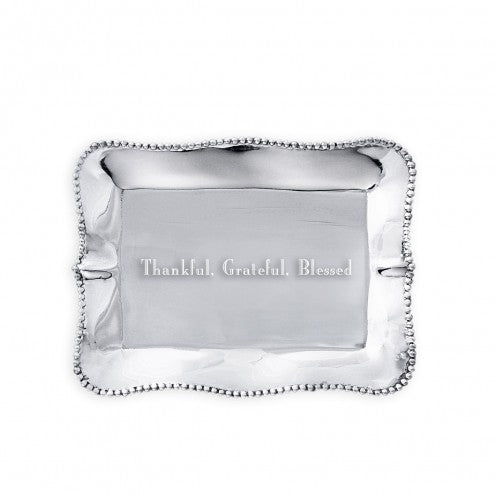 "Pearl Rectangular Engraved Tray ""Thankful, Grateful, Blessed"""